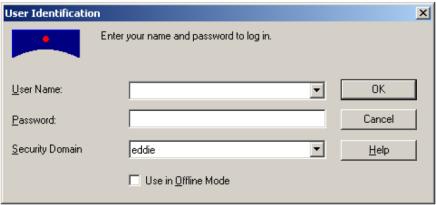 Business Objects V5.0 login screen
