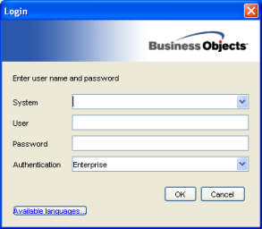 Business Objects XI R2 login screen
