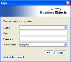 Business Objects XI R2 login screen